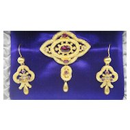 Genuine Victorian Pendant/Brooch and Earring Set in 15K Gold