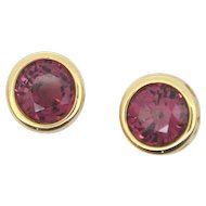 Pink Rhodolite Garnet Stud Earrings