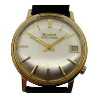 18K Gold Bulova Accutron Waterproof Wristwatch