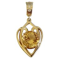 Custom 8CT Citrine & Diamond 14K Gold Omega Chain Enhancer Pendant