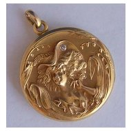 Art Nouveau 12K Gold Locket ~ Woman Hat Lily of the Valley