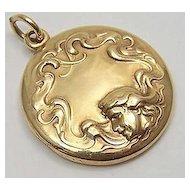14K Gold Art Nouveau Locket ~ Classic Woman & Flowing Hair