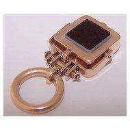 Antique 10K Rose Gold Intaglio Locket Fob Pendant