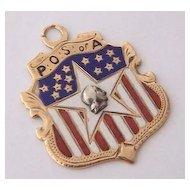 0K Fraternal Organization American Flag Enamel Fob ~ POS of A