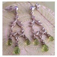 Vintage 14K WG & Peridot Chandelier Earrings