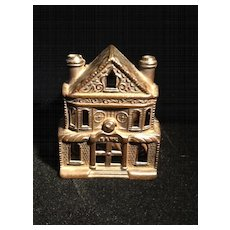 Cast Iron Victorian House Penny Bank