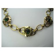 Vintage Gold Filled Over Sterling Flower Necklace with Green Stones