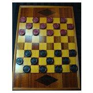 Vintage Wooden Inlaid Checker Board