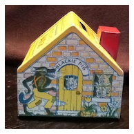 Vintage J Chein & Co. Three Little Pigs Bank