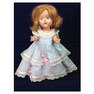 """Vintage Painted Eye Hard Plastic 8"""" Vogue Ginny Doll with Mohair Wig"""