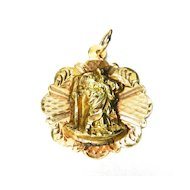 Vintage 14K Saint Christopher on a Disc Charm