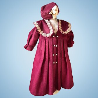 Fantastic burgundy antique doll coat and matching hat
