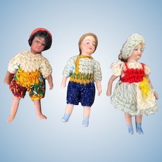 Collection of 3 French all-bisque lilliputian dolls - SFBJ