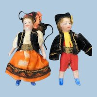 Lovely pair of allbisque SFBJ Lilliputian dolls
