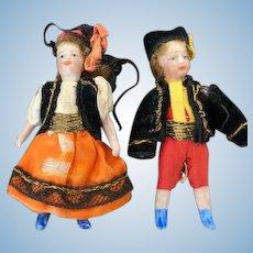Lovely pair of allbisque SFBJ Lilliputian dolls