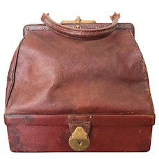 Rare, small antique 'Sac de voyage' - the 'IT'bag for your French Doll !