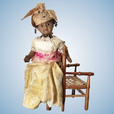 Antique, French mulatto doll, all original _ 10""