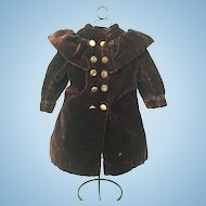 Antique velvet, brown/burgundy doll coat for Doll size 7/8