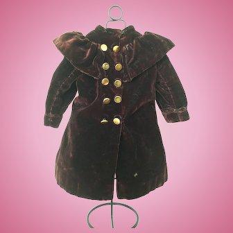 Antique velvet, brown/burgundy doll coat for Doll size 7/8