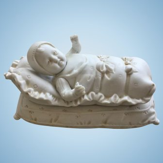 """Rare all-bisque box """"baby in bunting"""" by Hertwig & Co,  1915."""