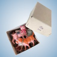 Rare, complete celluloid animal set, Sekiguchi -Occupied Japan