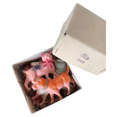 Rare, complete celluloid animal set, Sekiguchi -Occupied Japan