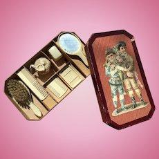 Original boxed, charming vanity set !
