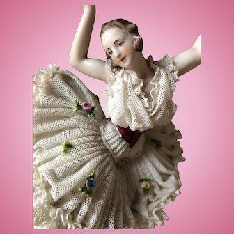 """Antique Volkstedt """"Dresden lace"""" ballerina figurine"""