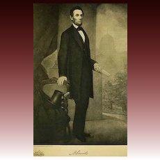 1907 Antique President Portrait 'Abraham Lincoln' Fine Art - Gravure Print, White House, History RARE