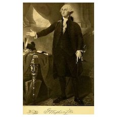 1907 Antique President Portrait 'George Washington' - Fine Art, Gravure Print, White House, History RARE