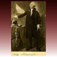 1907 Antique President Portrait 'George Washington' - Fine Art, Gravure Print, White House, History RARE