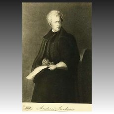1907 Antique President Portrait  'Andrew Jackson' - Fine Art, Gravure Print, White House, History RARE
