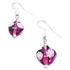 Stunning Venetian Millefiori Art Glass Earrings, Hearts, Flower, Purple & White Murano Glass Beads