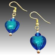 Gorgeous Venetian Art Glass Earrings, 24K Gold Foil Hearts, Murano Glass, Teal-Blue