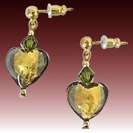 Elegant Olivine Venetian Art Glass Earrings, 24K Gold Foil Murano Glass Hearts