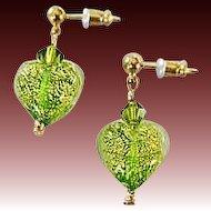 Stunning Venetian Art Glass Earrings, Peridot Green 24K Gold Foil Murano Glass Hearts