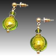 Dazzling Venetian Art Glass Earrings, 24K Gold Foil, Peridot Murano Glass Beads, Lime Green