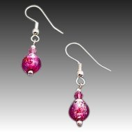 Dazzling Czech Art Glass Earrings, Magenta Pink Czech Silver Foil Beads, Roses