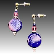 Stunning Blue German Art Glass Earrings, RARE 1940's German Beads