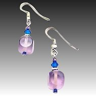 Gorgeous Amethyst Czech Art Glass Earrings, RARE 1950's Czech Satin Glass Beads