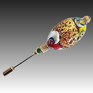 Dazzling 24K Gold Foil Venetian Art Glass Stick Pin, Murano Lampwork Bead, Hat Pin