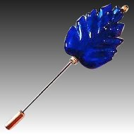 Gorgeous Blue Leaf Venetian Art Glass Stick Pin, 24K Gold Foil Murano Glass Bead, Hat Pin
