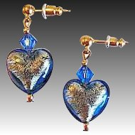 Gorgeous Venetian Art Glass Earrings, Sapphire Blue 24K Gold Foil Murano Glass Hearts