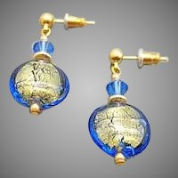 Dazzling Venetian Art Glass Earrings, 24K Gold Foil Murano Glass Beads, Sapphire Blue