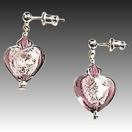 Fabulous Venetian Art Glass Earrings, Silver Foil Hearts, Amethyst Murano Glass Beads