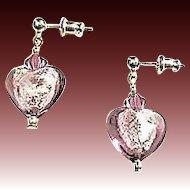Fabulous Venetian Art Glass Earrings, Silver Foil Hearts, Amethyst Murano Glass Beads