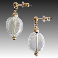 Gorgeous Venetian Art Glass Earrings, 24K White Gold Foil Murano Glass Beads