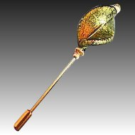 Stunning Venetian Art Glass Stick Pin, Olivine Murano Glass 24K Gold Foil, Hat Pin