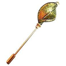 Stunning Venetian Art Glass Stick Pin, Olivine Murano Glass 24K Gold Foil, Hat Pin