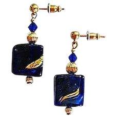 Stunning Venetian Art Glass Earrings, Cobalt Blue 24K Gold Foil Murano Glass Beads